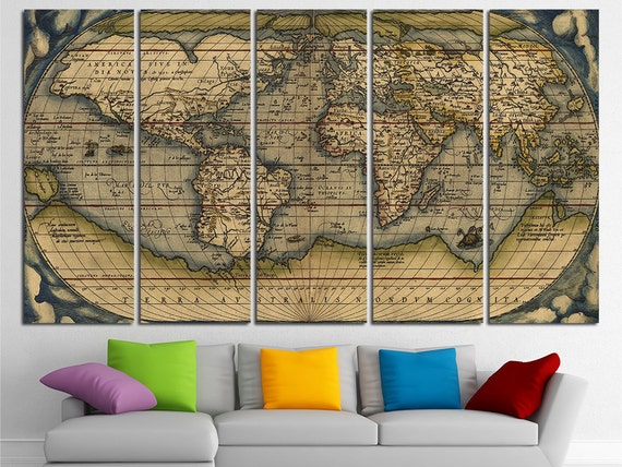Old World Map Wall Art Multi Panel Set Vintage Large World Map