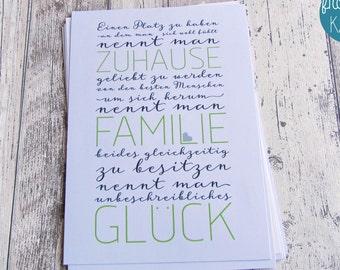 """Bild, Druck, Kunstdruck, Bild, Lettering  """"Zuhause-Familie-Glück"""" von Frollein KarLa"""