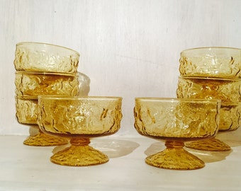 Vintage Anchor Hocking Amber Lido Dessert Bowls (set of 8)
