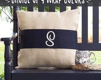 Throw Pillow Cover, Personalized Monogram Pillows, Initial Pillows, Interchangeable Burlap Pillow Wraps, Anniversary Gifts for Her 518064447
