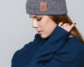 Women's Knit Hat / Mens Knit Hat / Winter Hat / Knitted Beanie / Melange Graphite Grey Hat