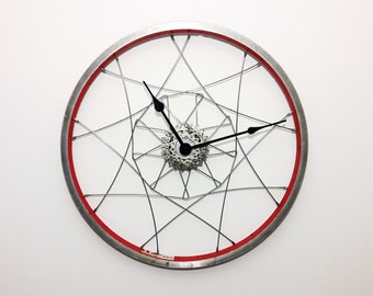 Bicycle wheel clock, wall clock, large wall clock, industrial clock, wheel clock, bike clock, bike wheel clock