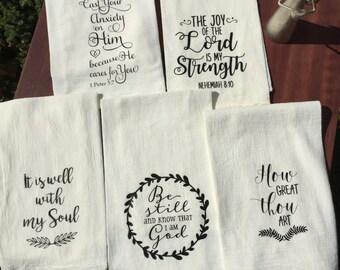 Flour Sack Scripture Hymn Tea Towels- set of 5