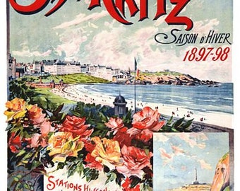 Vintage 1897 Biarritz France Tourism Poster  A3 Print