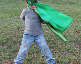 Gecko cape and mask, capes for boys, PJ Masks costumes, Gecko costume, PJ Mask outfits, Greg the Gecko birthday party, capes for boys, Gecko