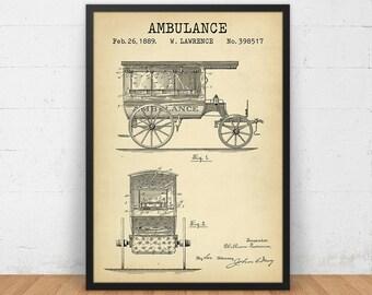 Ambulance Patent Printable, Vintage Ambulance, EMT Wall Art Patent, Emergency Vehicle, Ambulance Blueprint, Paramedic Gifts, Firefighter EMT