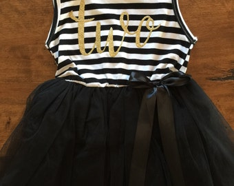 Second birthday outfit, 2nd birthday dress, black tutu dress with gold letters, 2nd dress, cake smash outfit, dress for girl second birthday
