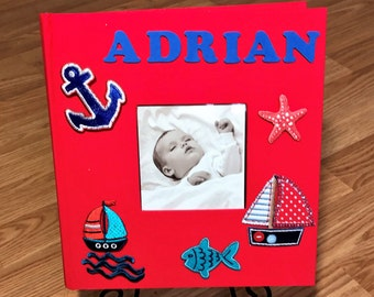 Personalized Nautical Baby Photo Album for Boys Red Album Kid Pictures Baby Shower Gift Mother's Day Gift