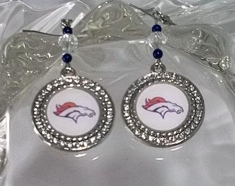 Denver Broncos Rhinestone Charm Dangle Earrings