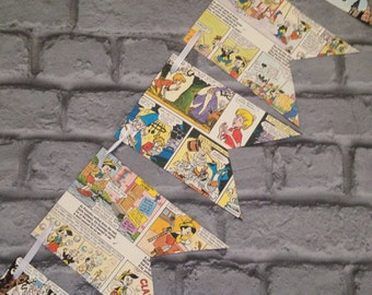 Vintage Disney themed colourful paper bunting garland -   Comic book recycled 1970s  book pages