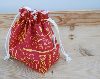 Drawstring box bottom bag | Knitting project bag | Crochet project bag | One skein project | Toy bag | Harry Potter | Sock bag