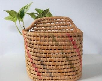 vintage pastel basket - colorful basket - hanging basket - vintage wall basket - vintage basket - pink, green, pastel - retro woven basket