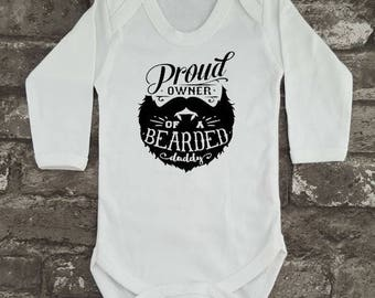 Bearded Daddy Baby Grow, Hipster Bodysuit, Beard Baby Vest, Baby Shower Present, Newborn Romper, New Dad, New Mom, Christmas Present Gift