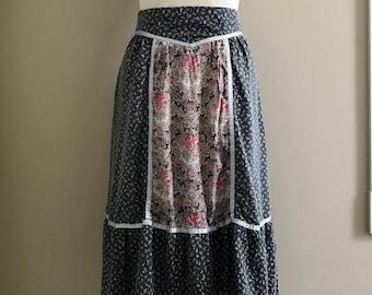 Vintage 1970's Boho Calico Prairie Skirt