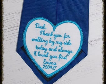 Personalised Embroidered Tie Patch, Father of the Bride. Iron on patch for wedding. Groom patch personalized