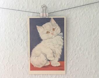 Vintage fluffy white cat kitten art postcard - Arnold Tilgmann cartoon illustration, child's bedroom decor, cute animal picture, red