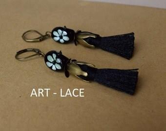 Dangle and Drop Lever back Tassel earrings Ethnic Antique Rustic Brass earrings Mini Black Tassel Green Black Statement Gypsy earring Unique