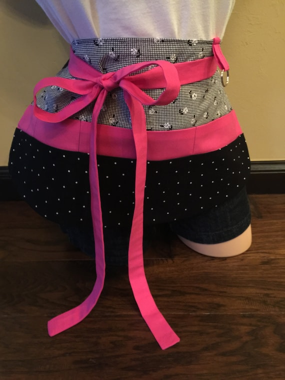 Pink, Black and White Flower Apron