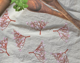 Cherry Blossom Tea Towel gift; Spring Flour Sack Towel; Mother's Day gift; pink and copper dish towel; Kitchen Towel; handmade towel
