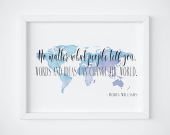 Robin Williams Inspirational Wall Art Inspirational Quote Motivational Wall Decor Motivational Quotes Motivational Sign Motivational Art