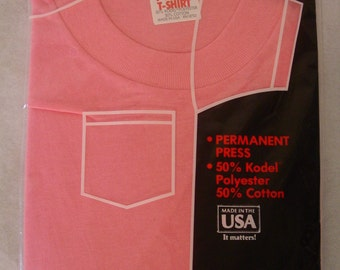 T-shirts, pocket, t shirts, vintage, vintage clothing, 1980s, pink, pocket t, NOS, X large, XL