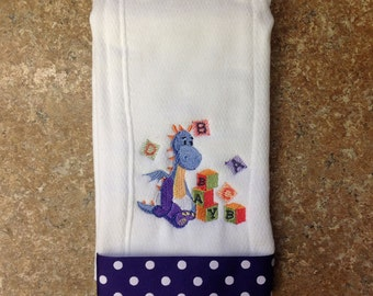 Personalized diaper burp cloth, embroider burp cloth, baby name burp cloth, custom diaper