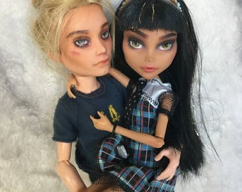 Monster High Repaint Cleo and Deuce Couple - OOAK doll - Monster high doll - custom dolls - repainted monster high doll