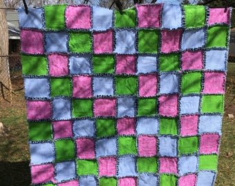 Denim Rag Quilt Flannel Blue Pink Green ..... FREE SHIPPING