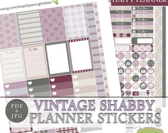 Shabby Printable Planner Stickers, Vintage Shabby Happy Planner Stickers Printable, Spring Happy Planner Weekly Kit, March Sticker Kit Mambi