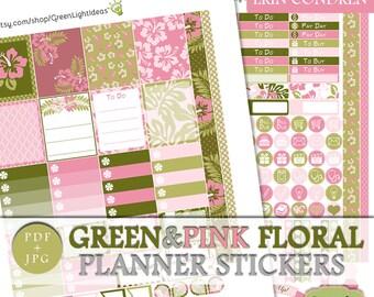 Green Pink Erin Condren Weekly Kit Printable, Printable Stickers Erin Condren Vertical Planner, Spring Printable Sticker Kit Erin Condren