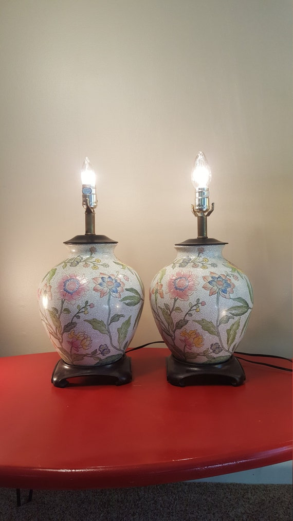 Vintage Pair of Chinoiserie Lamps, Pastel Ceramic Ginger Jar Lamp Pair, Large Lamps with Pink Poppy Pattern, Asian / Chinese Lamp