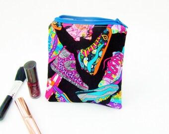 Retro 80s purse, small makeup bag, cute handbag tidy, kitsch 80s fabric, daylgo baseball boot, small coin purse, handy tampon bag, card case