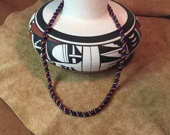 Woven Spiral Seed Bead Necklace