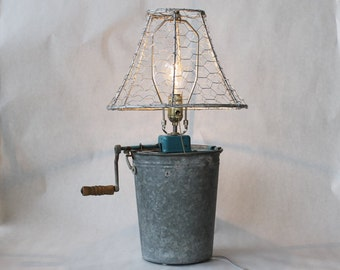 Vintage Ice Cream Maker Lamp