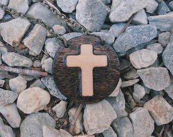 "Cross Necklace - 16"" Antique Brass Chain - Christian Necklace - Cross Jewelry - Christian Necklace - Cross Charm - Cross Pendant"