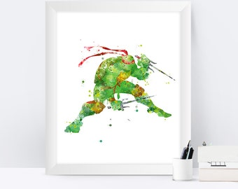 Teenage Mutant Ninja Turtle Raphael Print TMNT Art Raphael Watercolor Tmnt Poster Gift Turtle Wall Art instant download