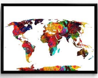 Colorful Map of The World, Earth Poster, Nature, Decorative Geograpy, Instant Download,Poster, Room Decor, gift, printable wall art (23)