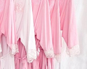 Sale Bridesmaid Gift,Bridesmaid Robe,Bridesmaid Gift Idea,Bridal Party Gift,Monogram Bridesmaid Robe,Lace Robe,Lace Bridal Robe,Cotton Robe