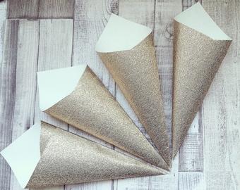 Gold Glitter Confetti Cone x 1 - Glitz, Glam, Gatsby Wedding, Bling, Elegance