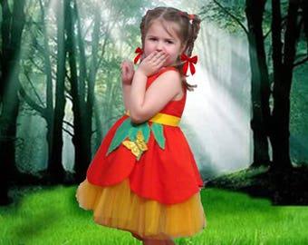 Poppy Flower Dress Girls•Girls hand painted dress•Batiste Dress•Summer Dress•Size 5•Twirl Dress•Red Yellow Dress•Birthday•Open back