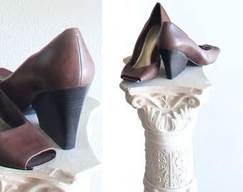 Vintage Nine West Chocolate Brown Wedge Heel Shoes Size US 7.5 M