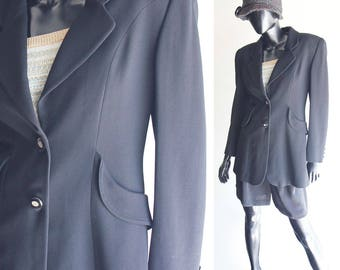 Vintage Mariella Burani Black Wool Blazer with Back tie Size  US6