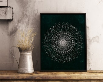 Printable mandala , poster Geometric ,Mandala wall art , printable art , vintage texture , zen , Home decor ,Digital download , boho , print