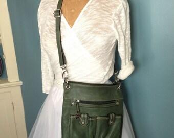 Green leather bag, shoulder bag, leather purse, boho bag, green purse, zipper bag.
