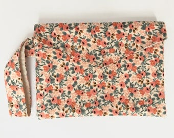Envelope Clutch, Rose Floral Clutch, Rifle Paper Co, Gift for Her, Pink Clutch, Gifts Under 50, Zipper Pouch, Floral Wristlet, Floral Purse