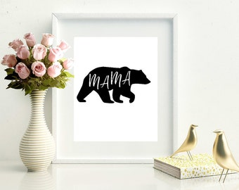 Mama Bear Silhouette Design Unframed Print | Wall Art | Home Decor | Word Art | Typography Art | Design Art Print