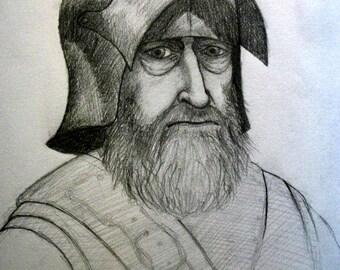 Old Man-at-Arms, medieval, medieval art, old man, portrait, figure study, original art, armor, print