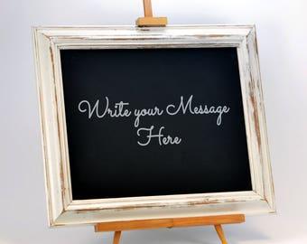 Framed Blackboard with Easel- Wedding Chalkboard - Vintage Wedding Prop - Rustic Menu Board - Bar Sign