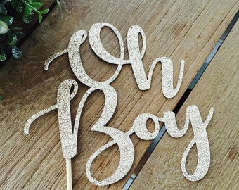 Oh Boy Cake Topper, Baby Shower Cake Topper, Baby Shower Glittery Cake Topper, Topper Gender Reveal Party.