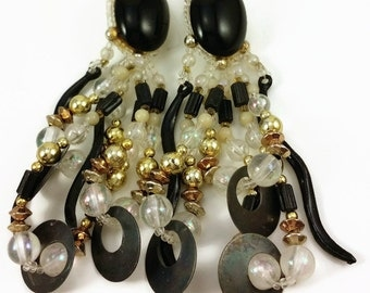 Vintage Black and White Beaded Dangle Earrings  Oval with multi-strands of beads